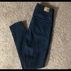 Sky High American Eagle Jeggings - Dark Navy Wash